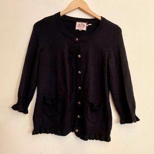 in EUC Juicy Couture Black Wool Blend Cardigan